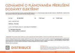 Oznámení o plánovaném přerušení dodávky elektřiny